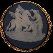 SALE 1875 Wedgwood Cobalt Blue Jasperware Pegasus Cameo 9K Brooch