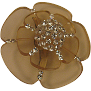 Mid Century Mod Lucite & Rhinestone Tiered Flower Brooch