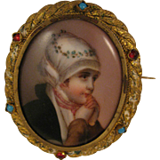 Antique Painted Porcelain Lady in Scarf Gilded Brooch