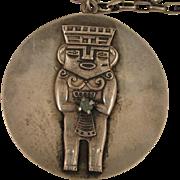 SALE Vintage South American 900 Silver Necklace Chain & Pendant