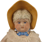 c.1900 German Bisque Bonnet Head Doll 17""