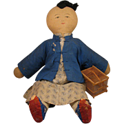 """21"""" Early 1900s Chinese Mission Cloth Doll w/ Cricket Cage"""