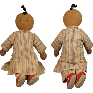 """21"""" Early 1900s Chinese Mission Cloth Doll"""