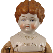 16.5 inch Uncommon Hair Color German Hertwig Pet Name Marion China Head Doll c.1900