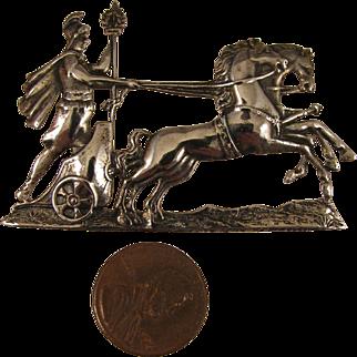 Vintage Sterling Silver Roman Chariot Horses Brooch