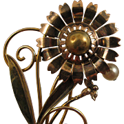 SALE Walter Lampl 1940s Sterling Vermeil Flower w/ Cultured Pearl Brooch
