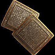 SALE 1980s PaveDiamond Square Pierced Earrings GP