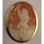 MId 1800s Carved Shell Cameo of Child in Garden w/Bird in 14K Brooch
