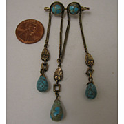 Early 1900s Czech Turquoise Art Glass Triple Dangle Brooch
