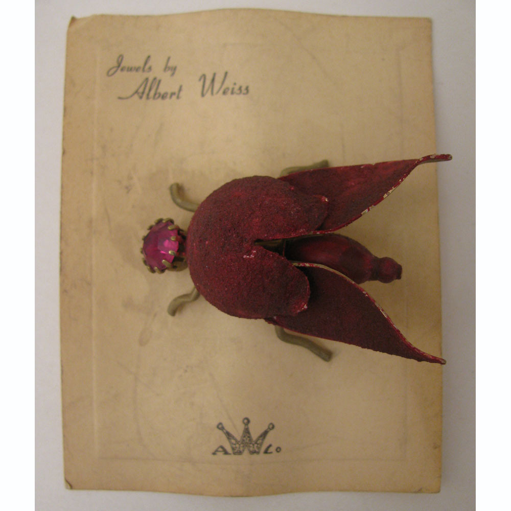 1940s Albert Weiss Red Rhinestone Bug Brooch on Original Card