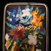 SALE Vintage Sterling Silver Colorful Enameled Flower Bouquet Brooch