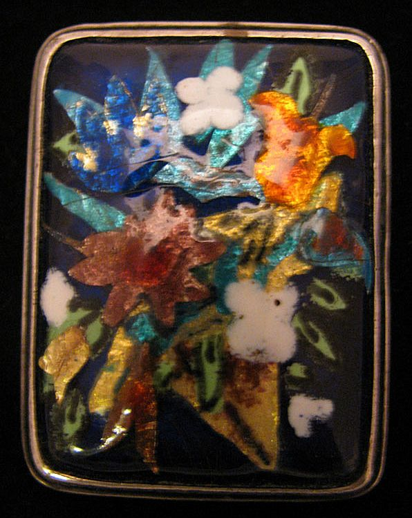 Vintage Sterling Silver Colorful Enameled Flower Bouquet Brooch