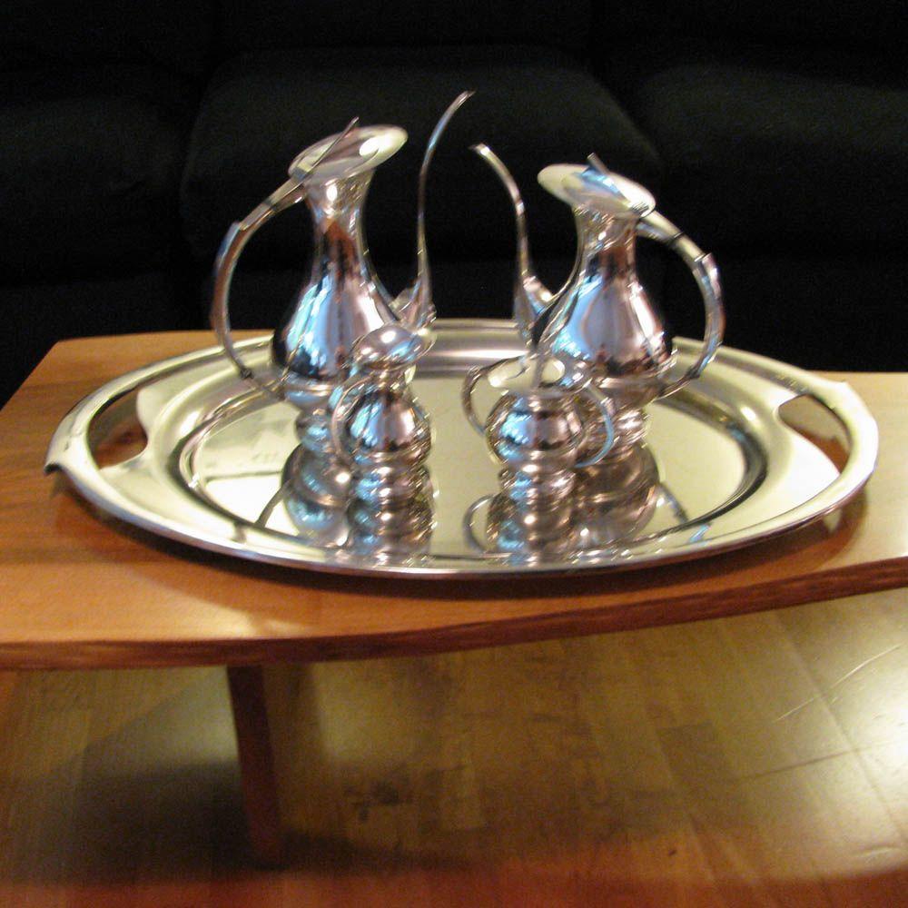 Mid Century Modern 950 Sterling Silver Tea Set Coffee Set+ Tray