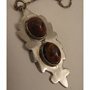 1970s Vintage Sterling Silver Double Boulder Opal Pendant Necklace