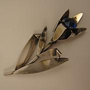 SALE 1940s Vintage Sterling Silver Blue Rhinestone Flower Brooch