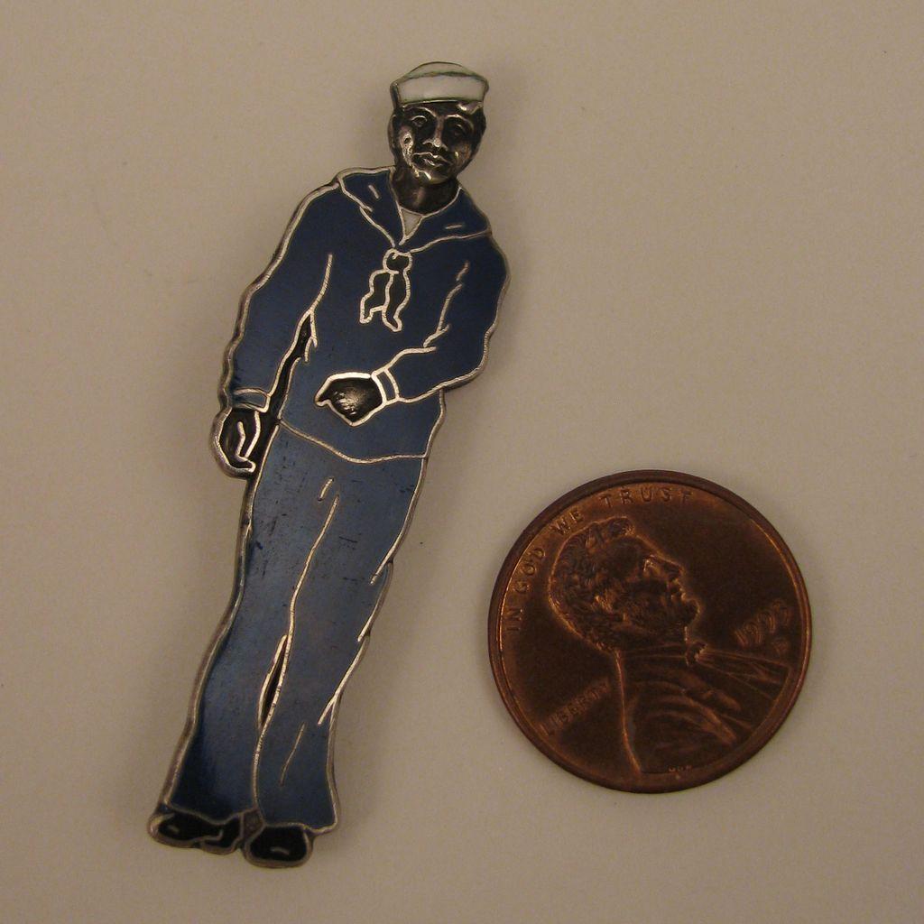 Vintage Sterling Silver Enameled Sailor Brooch Pin