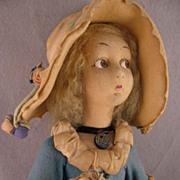 "1923 Lenci 24"" Lady in Turquoise Felt Dress & Large Bonnet"