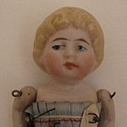 "3.5"" German Blond All Bisque Jointed All Original Doll"