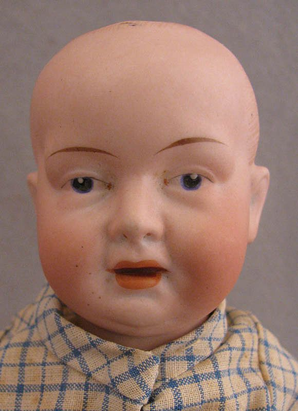 """c.1910s-1920s Einco 9"""" Bisque Baby Doll on Composition Body"""