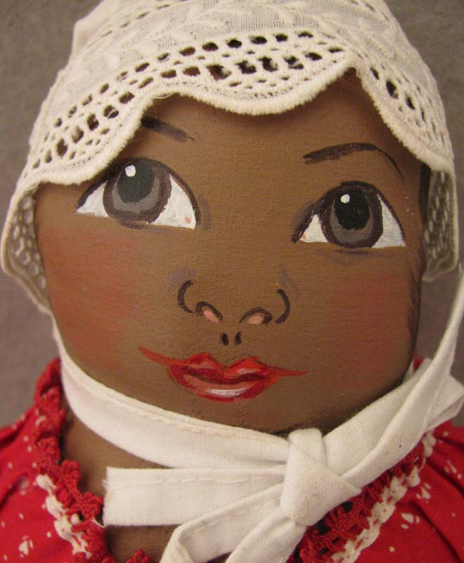 Handcrafted Artisan Made Black Cloth Doll