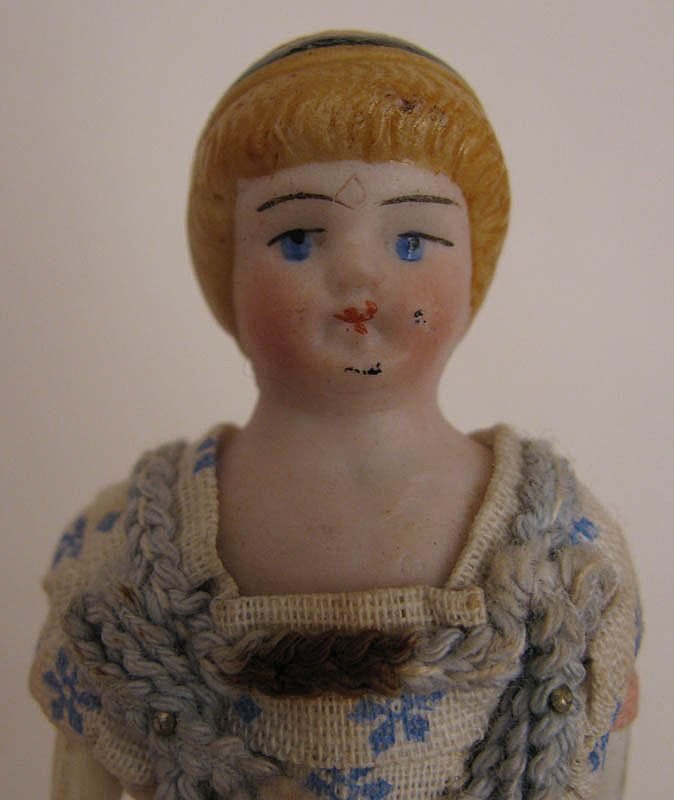 """c. 1900 All Original 4.25"""" Bisque Doll House Doll"""