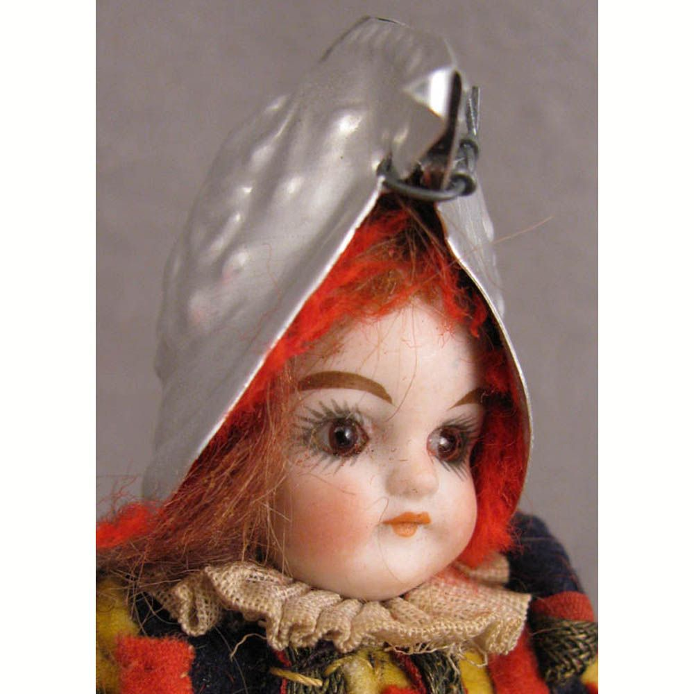 """6.25"""" Solid Dome Glass Eyed Bisque Dressed as Vatican Swiss Guard"""