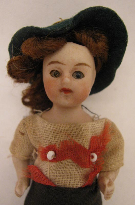 "3.5"" German All Bisque Boy Doll w/ Glass Eyes & Original Costume"