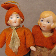 "All Original c.1920s-40s Pair of 3.25"" All Bisque Doll House Dolls"