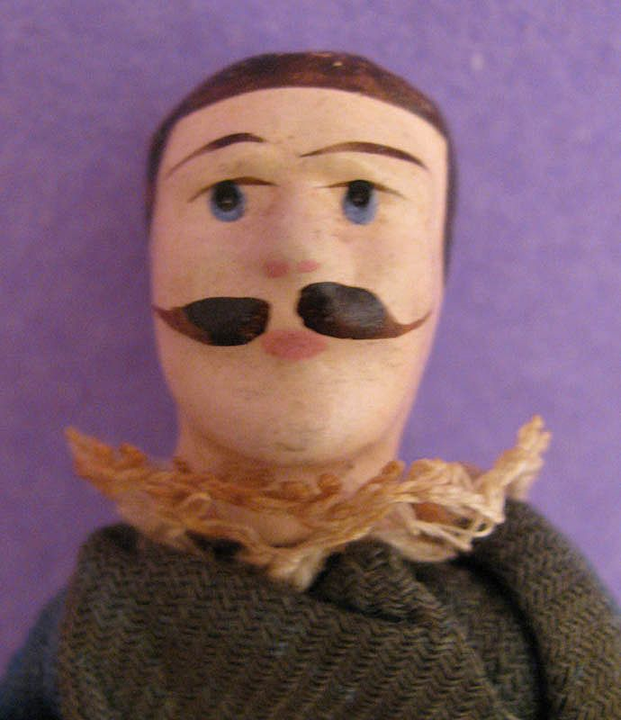 """3.75"""" Jointed Wooden Male Doll w/ Mustache & Original Clothing"""