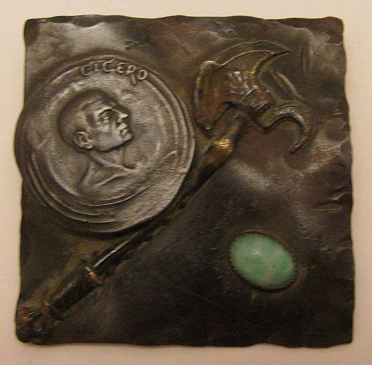 c.1900 Hand Made Bronze Arts & Crafts Cicero Brooch