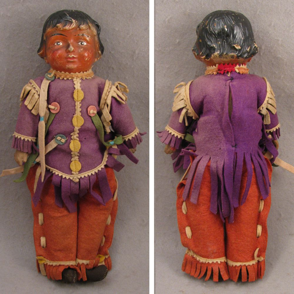 "19-teens 14"" Composition Doll as American Indian, All Original"