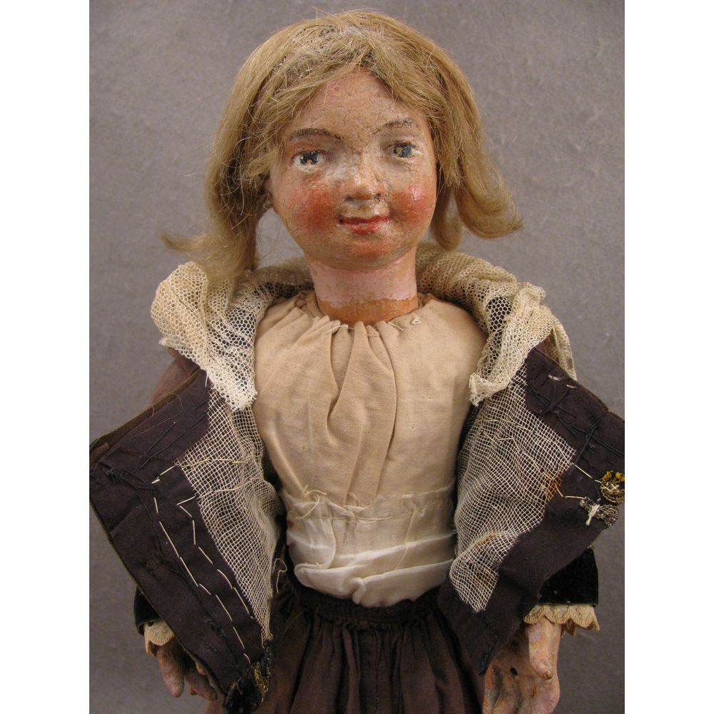 """1700s Carved Wood 17.5"""" Religious Creche Figure Doll"""