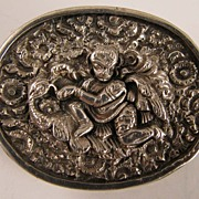 Antique Sterling Silver Indian British Raj Brooch God Vishnu riding Bird Garuda