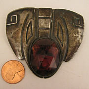 Early 1900s Arts & Crafts Buckle Brooch w/ Amethyst Paste Stone