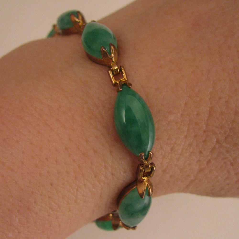 """Vintage Jade Linked Bracelet 7"""""""