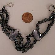 "SALE 8"" Cultured Peacock Pearl Petals Bracelet w/ Vintage Faceted Purple Beads."