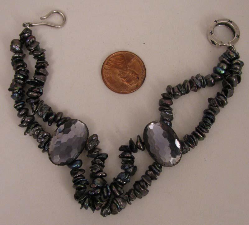 "8"" Cultured Peacock Pearl Petals Bracelet w/ Vintage Faceted Purple Beads."