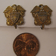 1940s Vintage Sterling Silver US Navy Earrings w/ Eagle, Flag Shield, & Crossed Anchors
