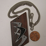 SALE Mid Century Modern Boomerang Fish on Teak Wood Pendant Necklace