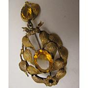 Victorian Pinchbeck Garland Brooch w/ Paste Stones