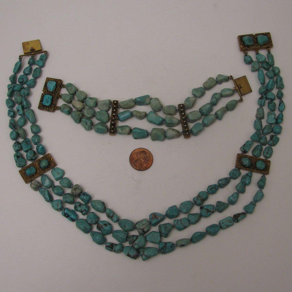c.1900 Chinese Export 3 Strand Turquoise Nugget Necklace & Bracelet Set