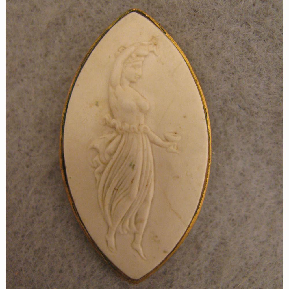 Antique Victorian White Lava Cameo Goddess Hebe Brooch
