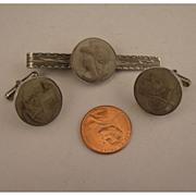 SALE Early 1900s Mans Italian 800 Silver Lava Cameo Cufflinks & Tie Clip Set