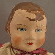 "1930s Vintage 18"" German Painted Cloth Little REd Riding Hood Doll"