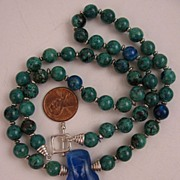 "21"" Chrysocolla Beaded Necklace w/Dichroic Glass Pendant & Sterling Silver Clasp"