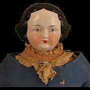 "1860s-70s German Flat Top China Head Doll 24"""