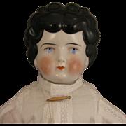"c.1900 German Low Brow China Head Doll 19"""