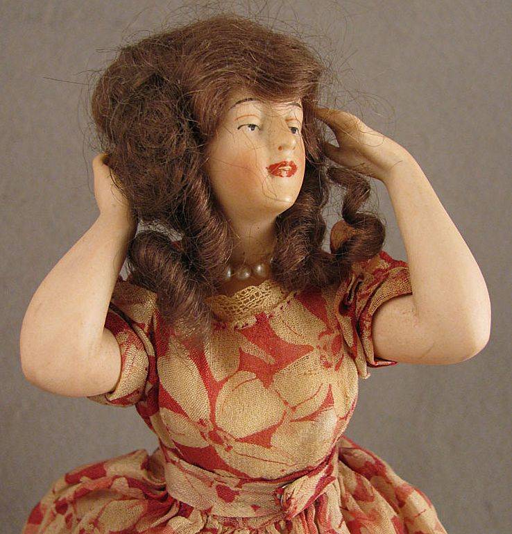 Early 1900s Standing German Bisque Pincushion Half Doll w/ Wig & Jointed Arms
