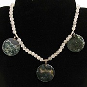 "16.5"" Rutilated Quartz w/ Moss Agate Coins Necklace"