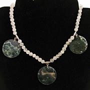 "SALE 16.5"" Rutilated Quartz w/ Moss Agate Coins Necklace"